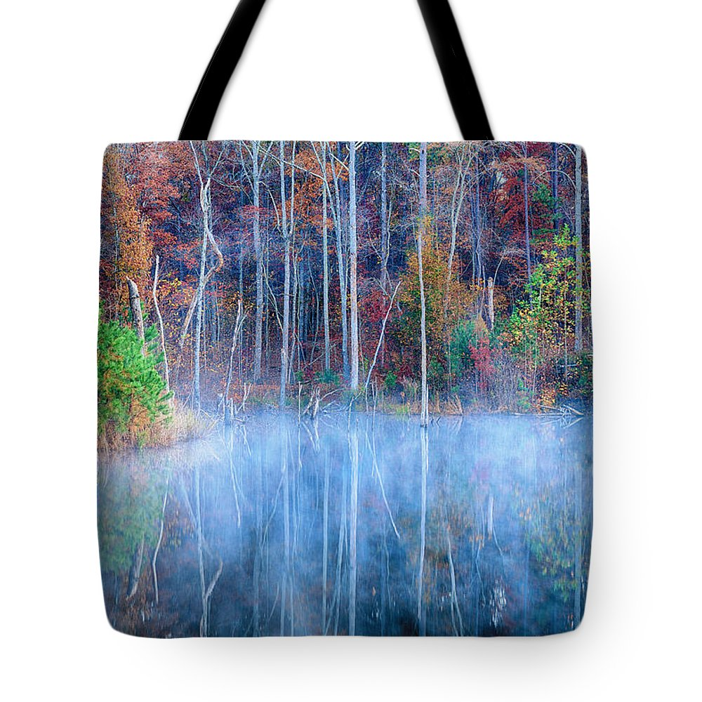 Lake Reflections Tote Bag featuring the photograph Foggy Morning Reflections by Greg Norrell