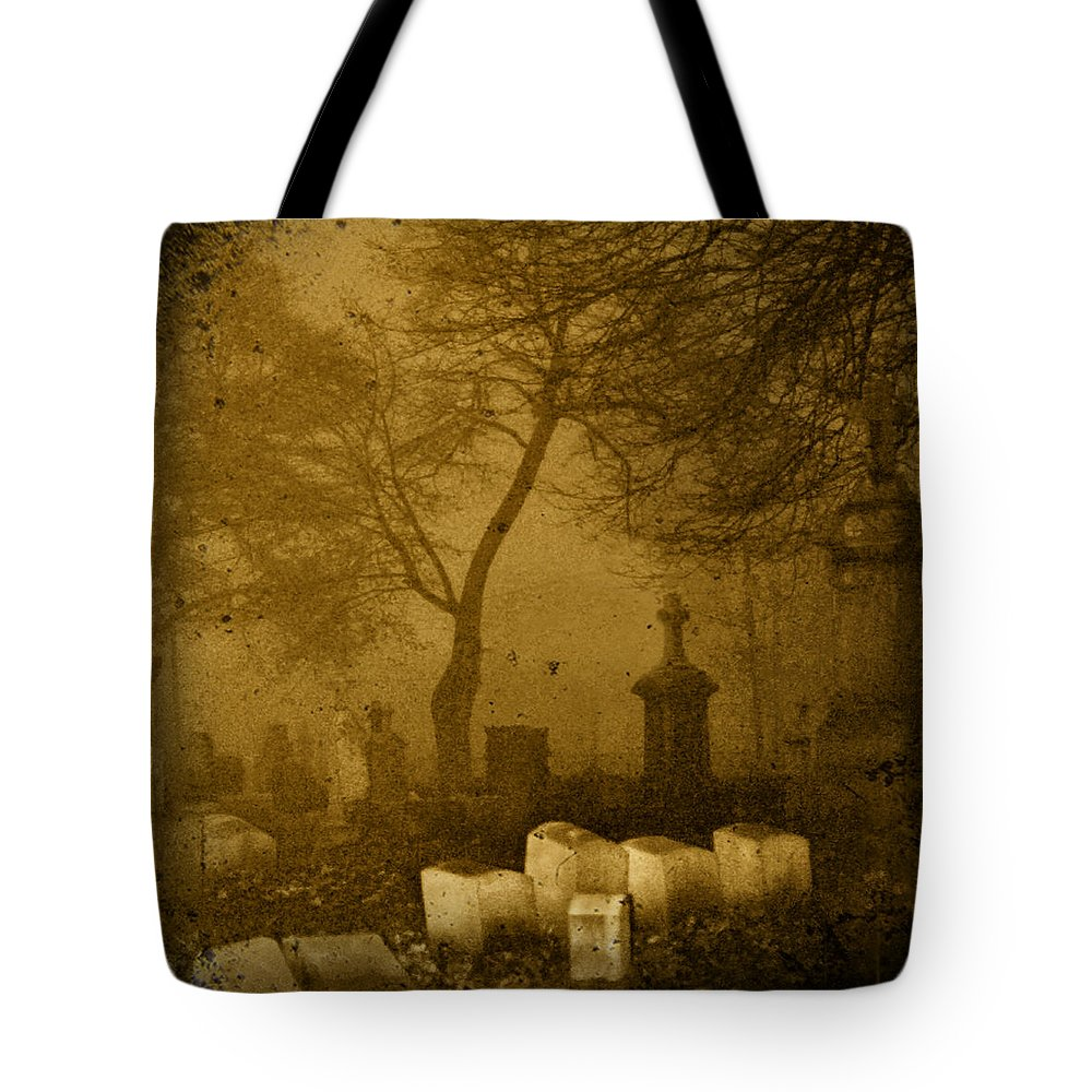 Sepia Tote Bag featuring the photograph Foggy Necropolis by Gothicrow Images