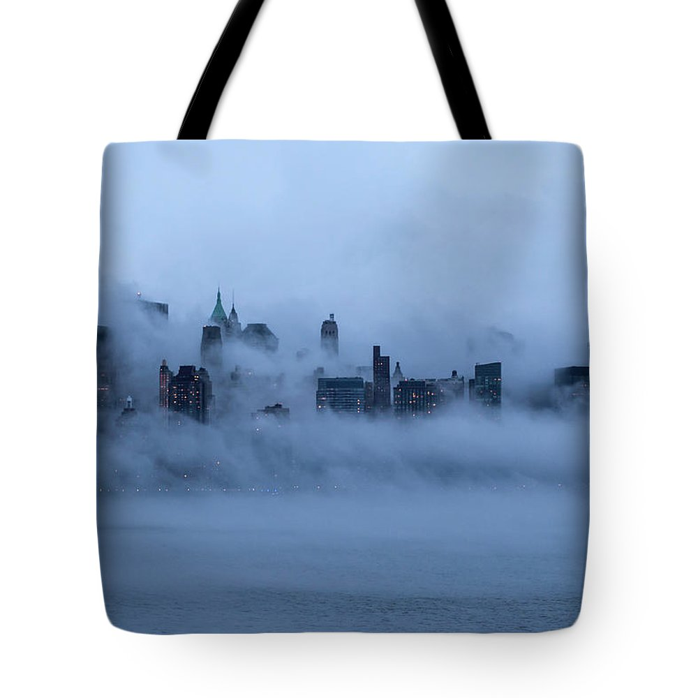 Dawn Tote Bag featuring the photograph Foggy New York City by Laverrue Was Here