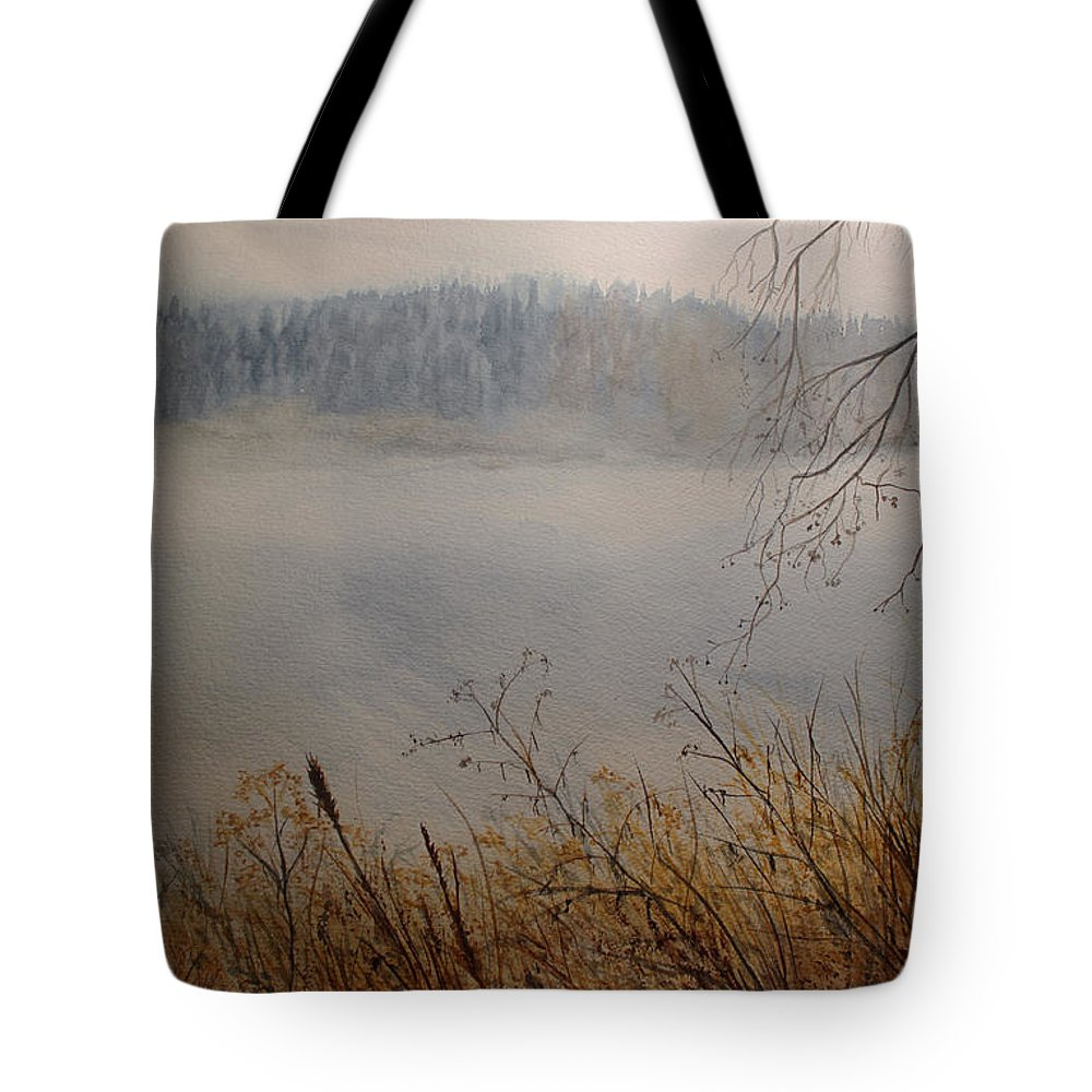 Foggy Tote Bag featuring the painting Foggy River by Carol Oberg Riley