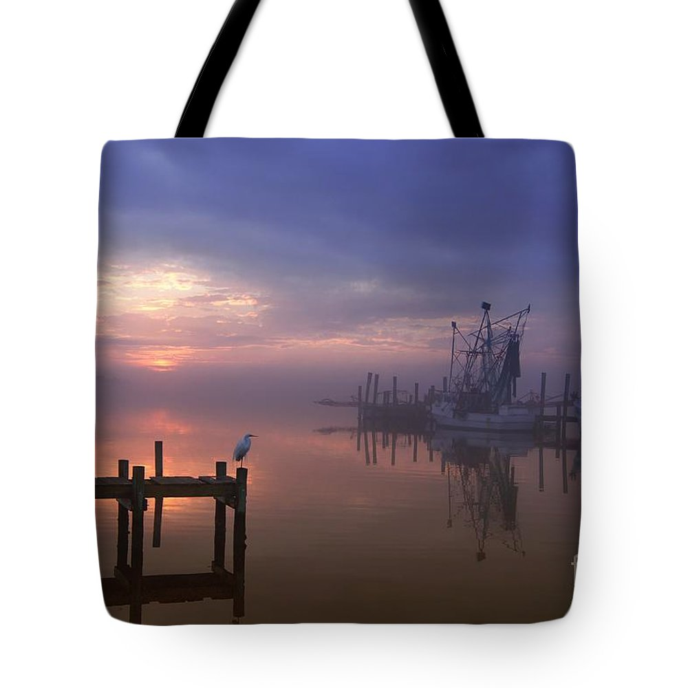 Swansboro North Carolina Tote Bag featuring the photograph Foggy Sunset Over Swansboro by Benanne Stiens