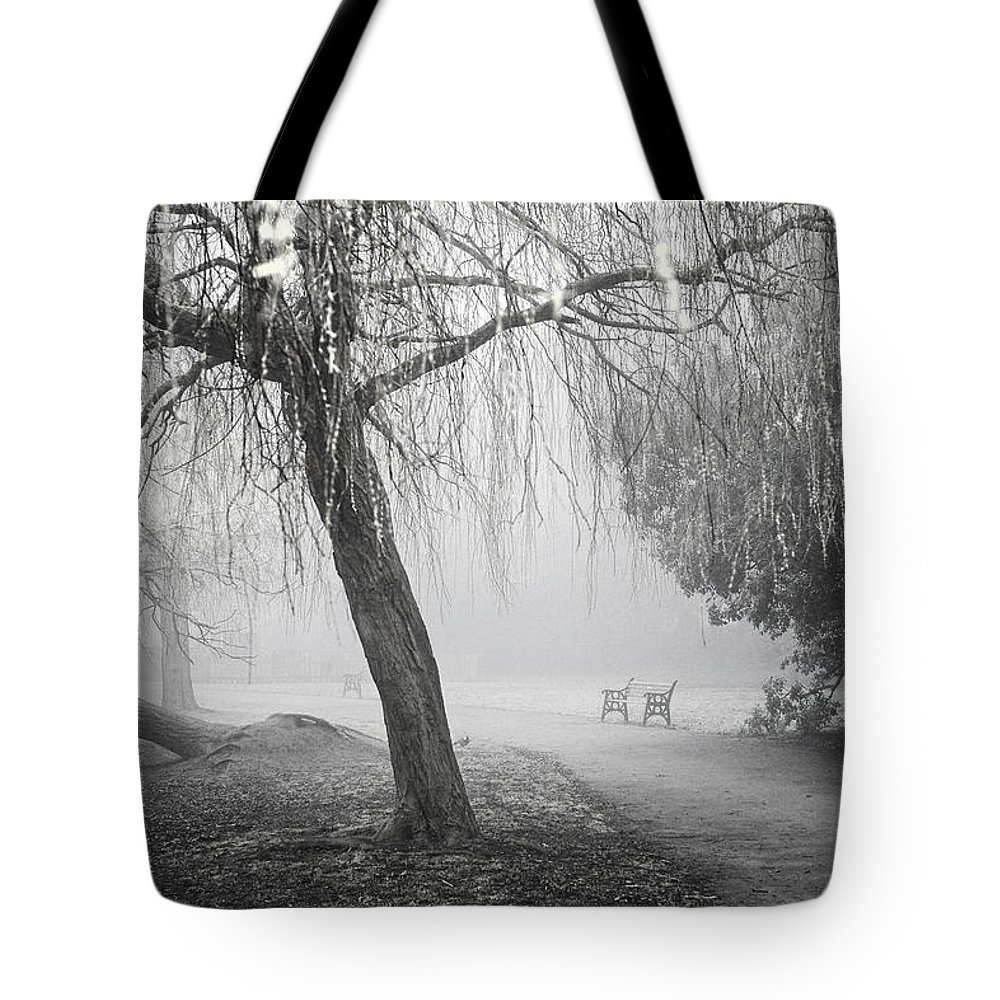Uk Tote Bag featuring the photograph Foggy Willow by Christopher Rees
