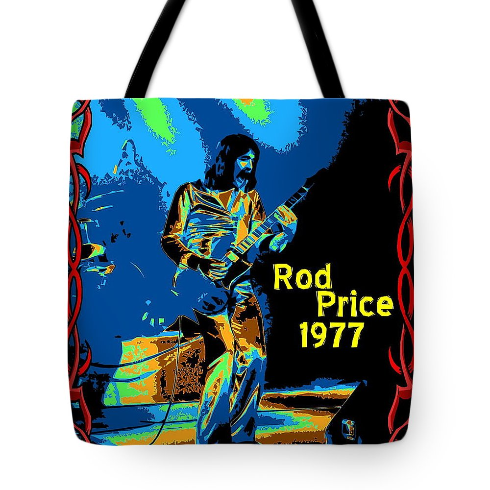 Rod Price Tote Bag featuring the photograph Foghat In Spokane 1977 by Ben Upham