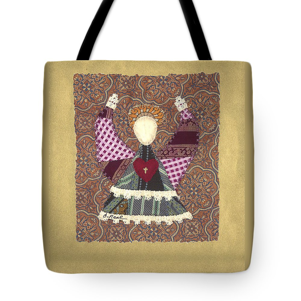 Angel Tote Bag featuring the tapestry - textile Folk Angel by Carol Neal
