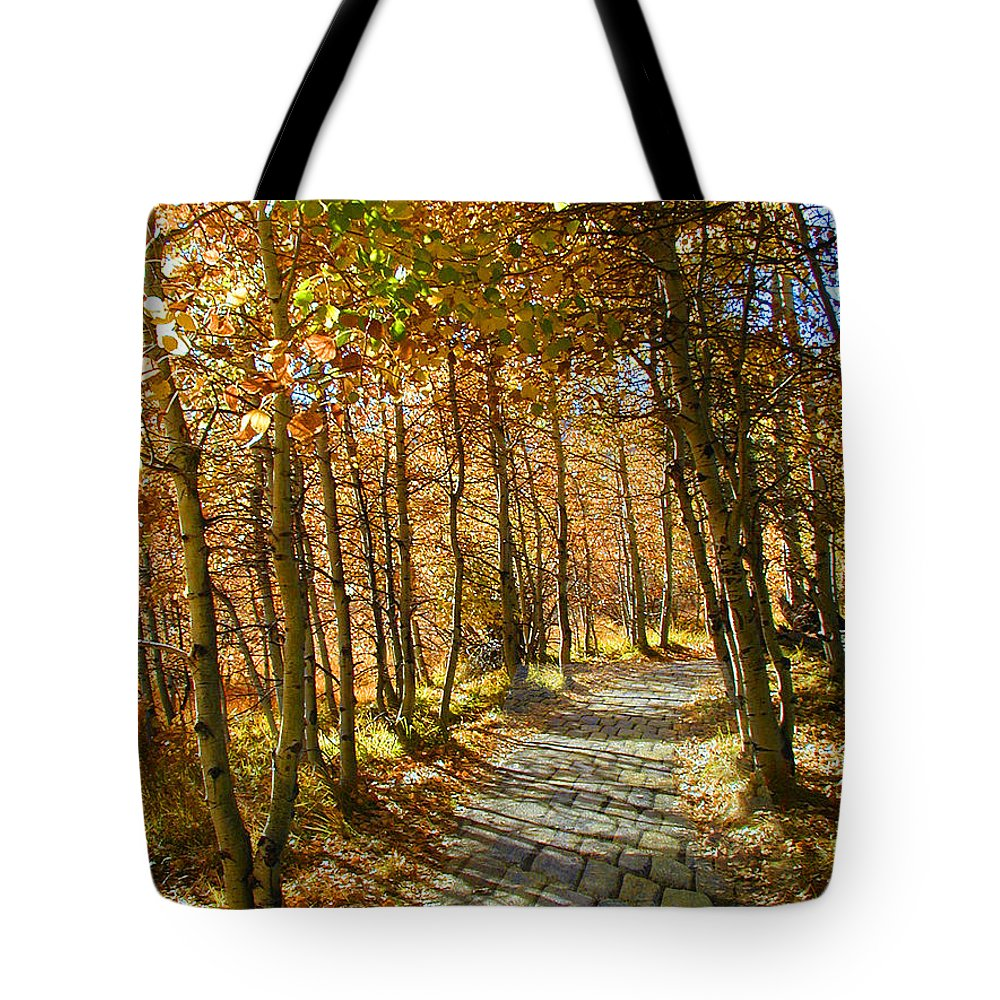 Aspens Tote Bag featuring the pyrography Follow The Yellow Brick Rd by Apollo Environmental Artist
