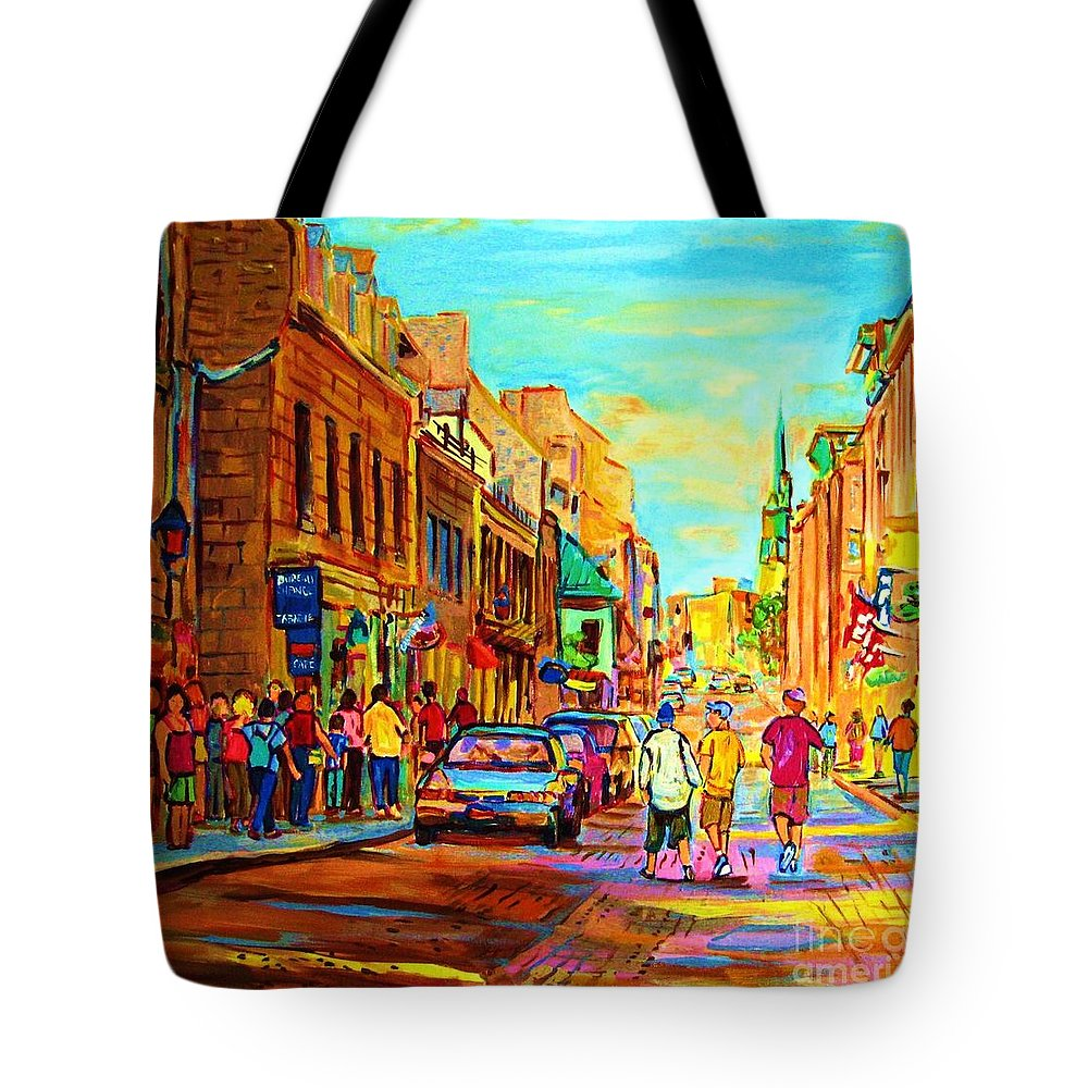 Montreal Tote Bag featuring the painting Follow The Yellow Brick Road by Carole Spandau