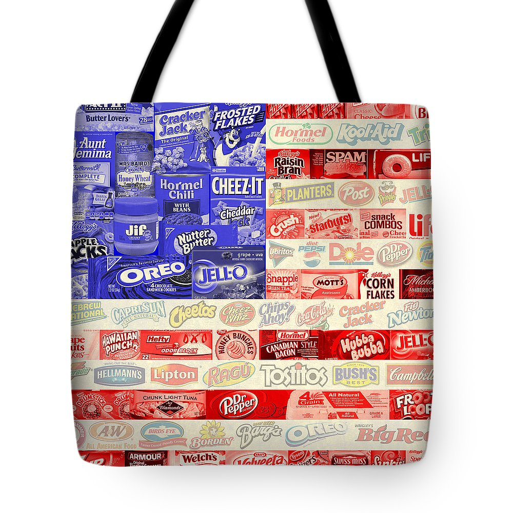 Vector Tote Bag featuring the digital art Food Advertising Flag by Gary Grayson