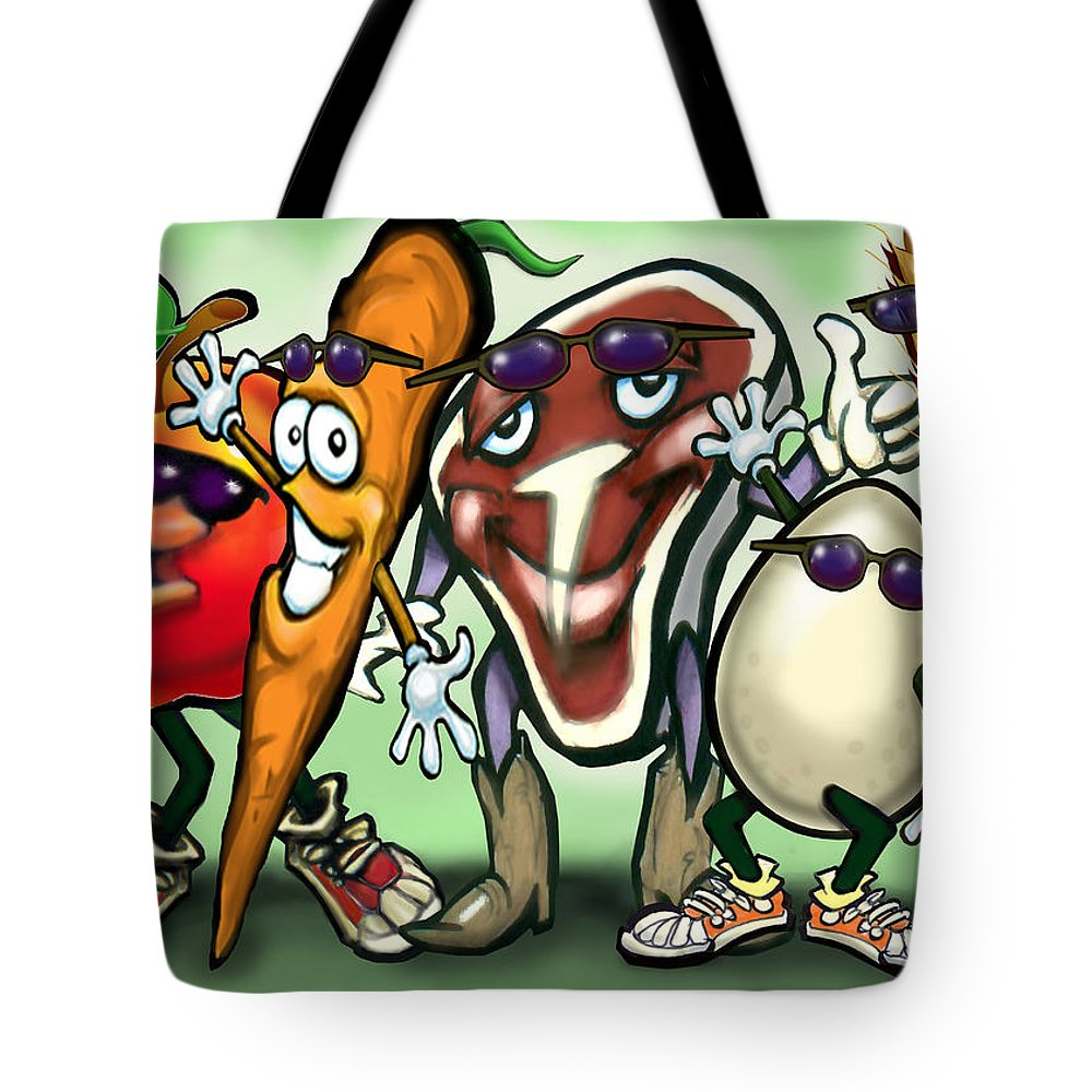 Food Groups Tote Bag featuring the painting Food Groups Party by Kevin Middleton