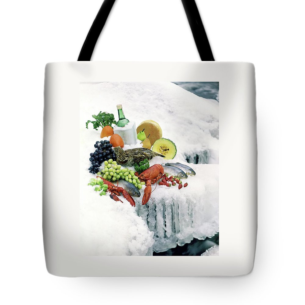 Food Tote Bag featuring the photograph Food On Ice by Stan Young