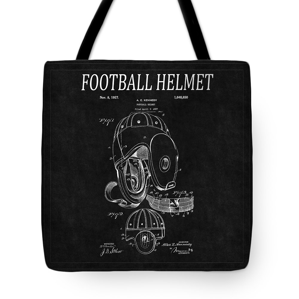 Football Tote Bag featuring the photograph Football Helmet Patent 4 by Andrew Fare