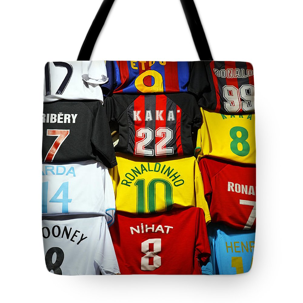 Football Tote Bag featuring the photograph Football Shirts Inside The Grand Bazaar In Istanbul Turkey by Robert Preston