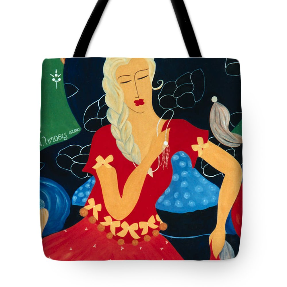 #female Tote Bag featuring the painting For Savana by Jacquelinemari