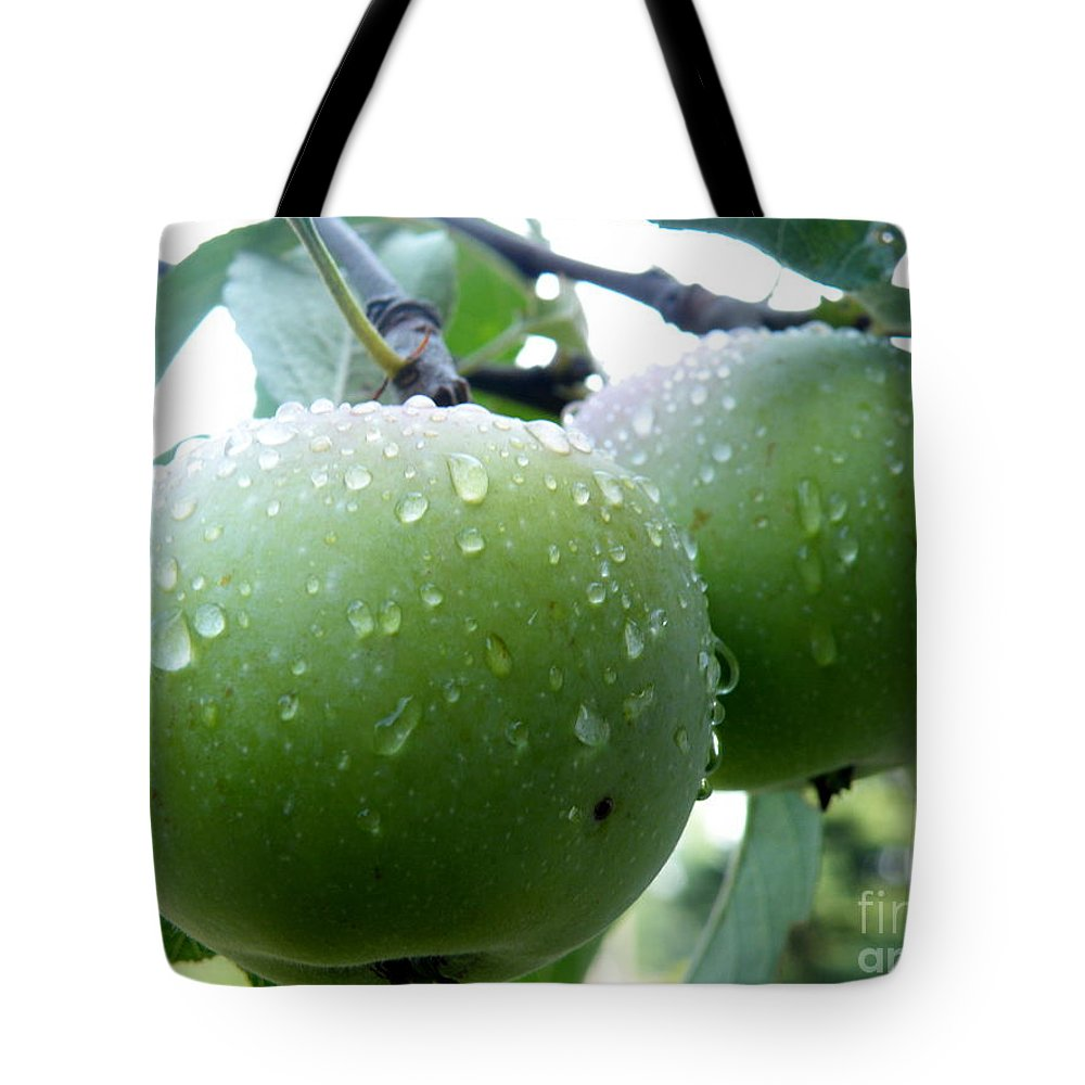 Green Apples Tote Bag featuring the photograph Forbidden Fruit by Kitrina Arbuckle