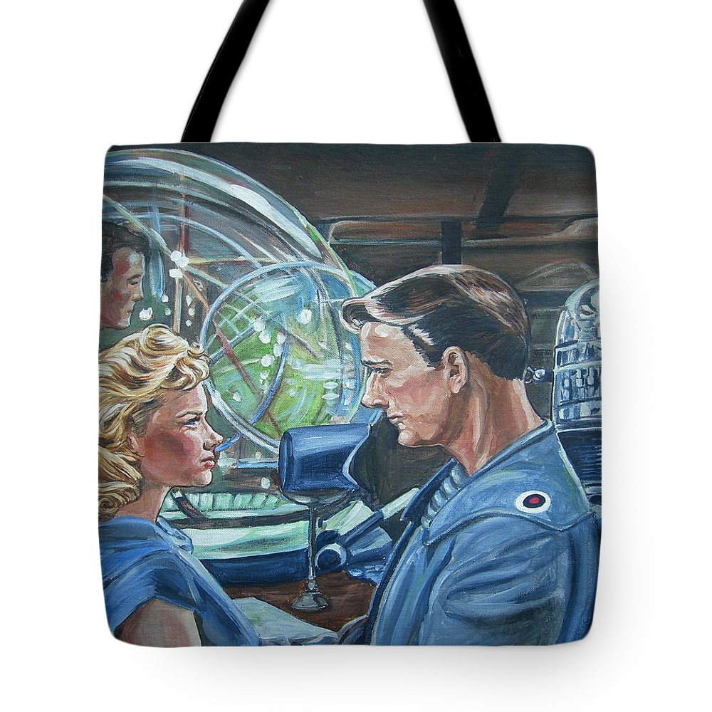 Forbidden Planet Tote Bag featuring the painting Forbidden Planet by Bryan Bustard