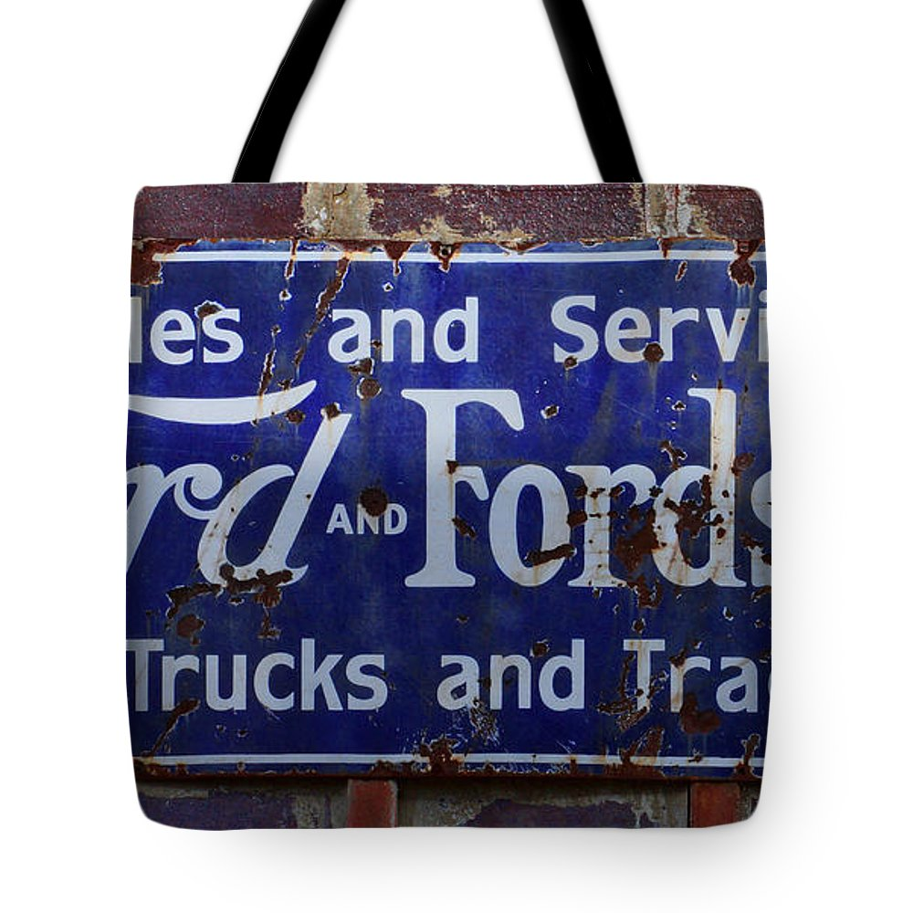 Vintage Tote Bag featuring the photograph Ford And Fordson Sign by Alan Hutchins