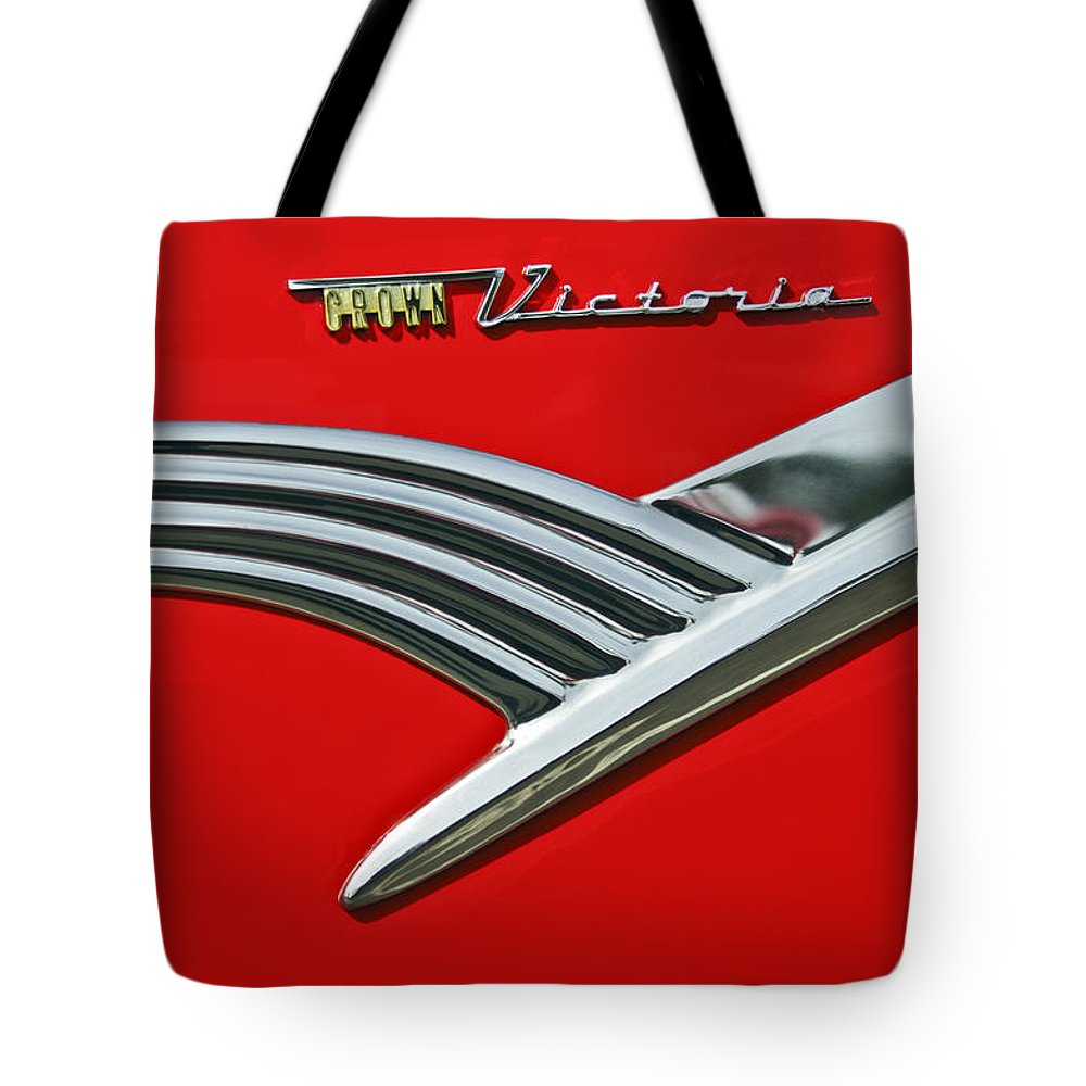 Car Tote Bag featuring the photograph Ford Crown Victoria Emblem by Jill Reger