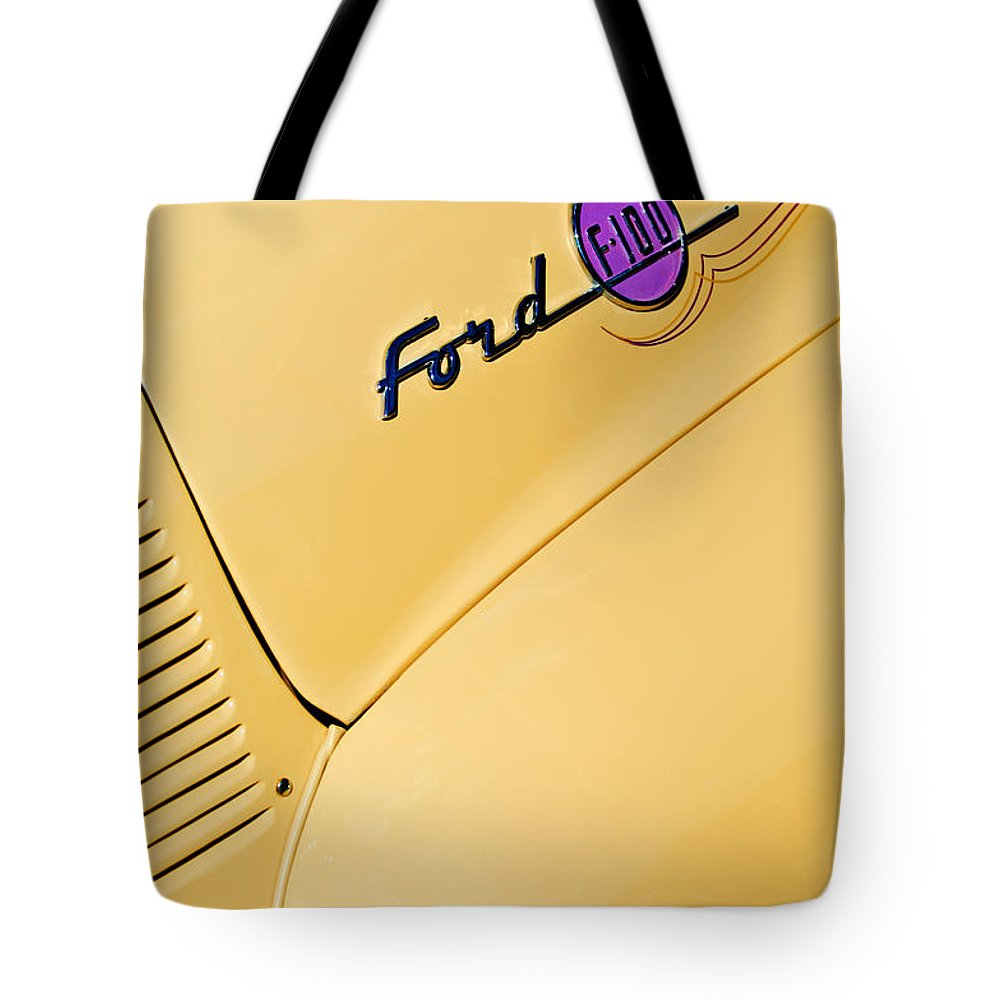 Ford F-100 Emblem Pickup Truck Tote Bag featuring the photograph Ford F-100 Emblem Pickup Truck by Jill Reger