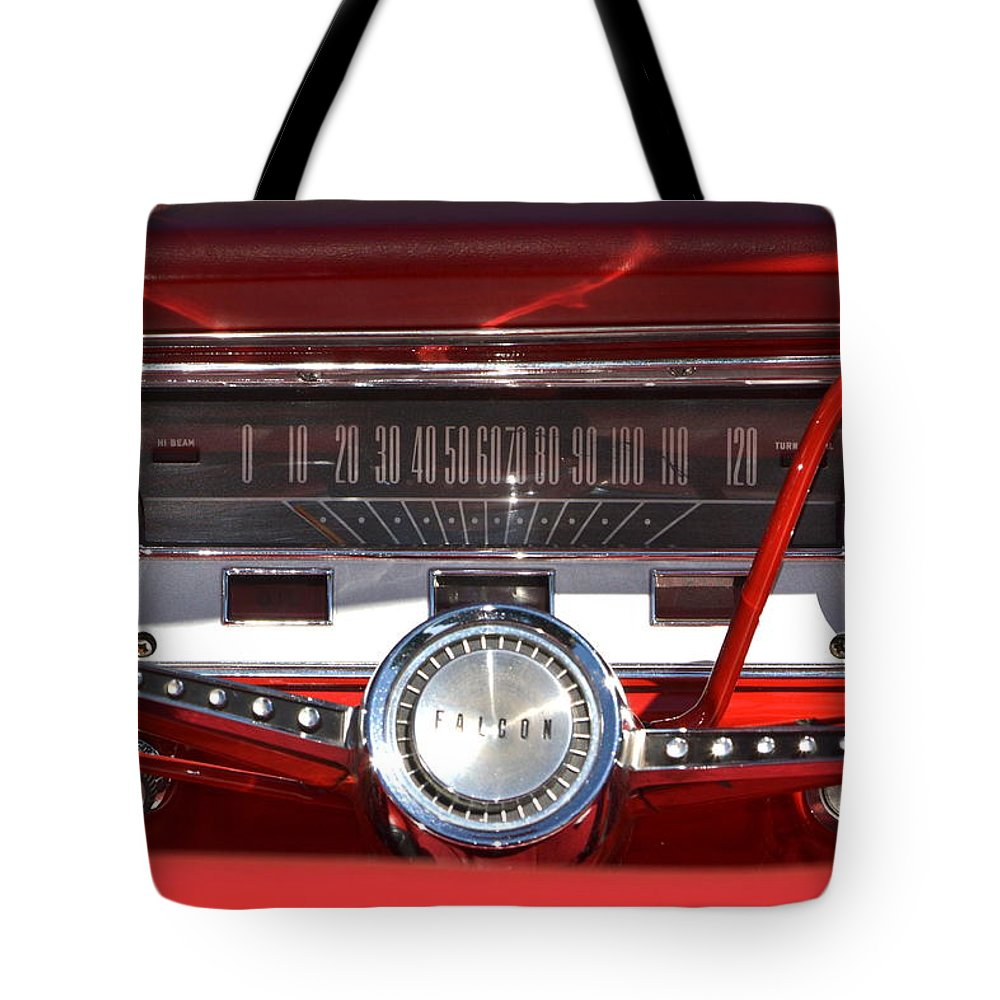 Red Tote Bag featuring the photograph Ford Falcon Dash by Dean Ferreira