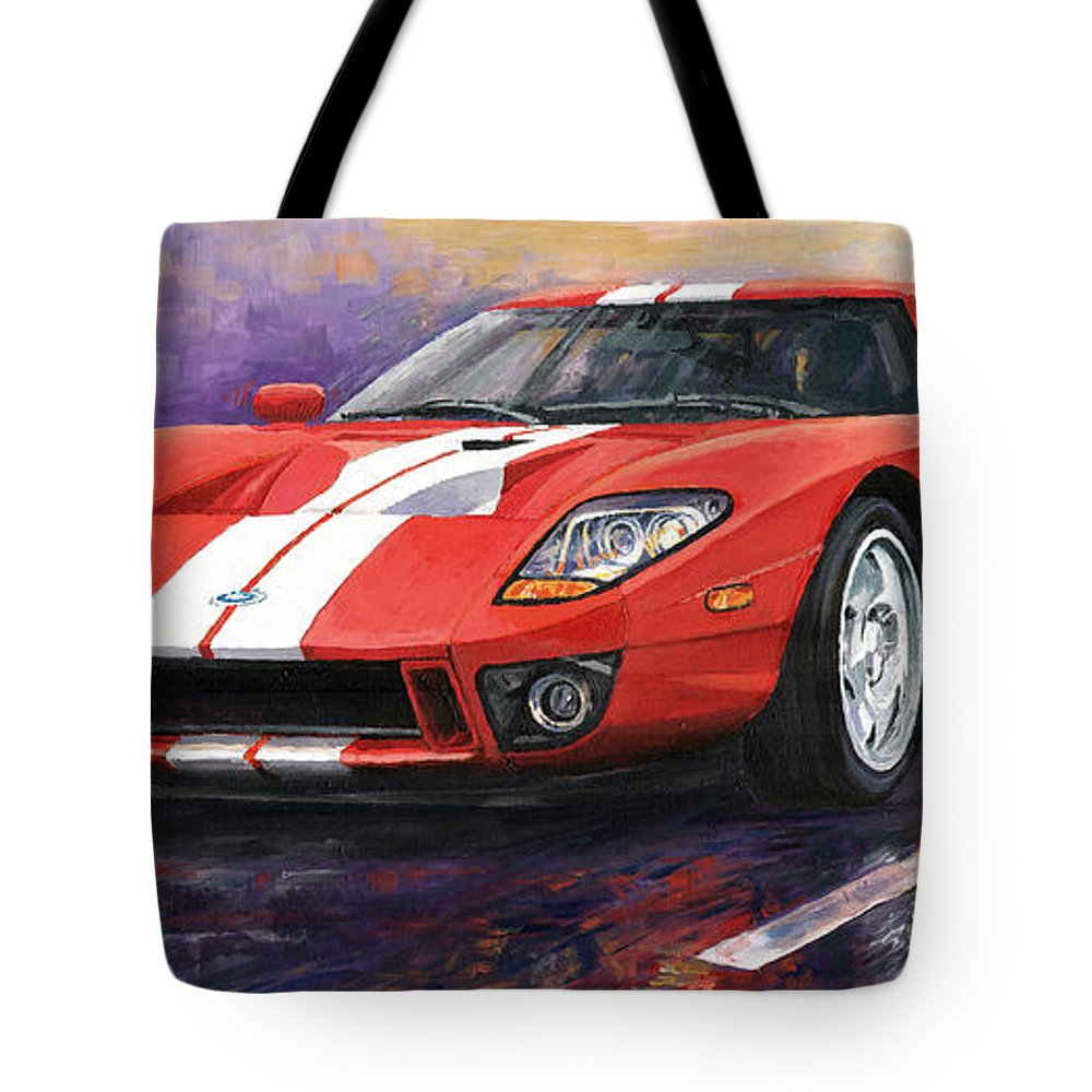 Automotive Tote Bag featuring the painting Ford Gt 2005 by Yuriy Shevchuk