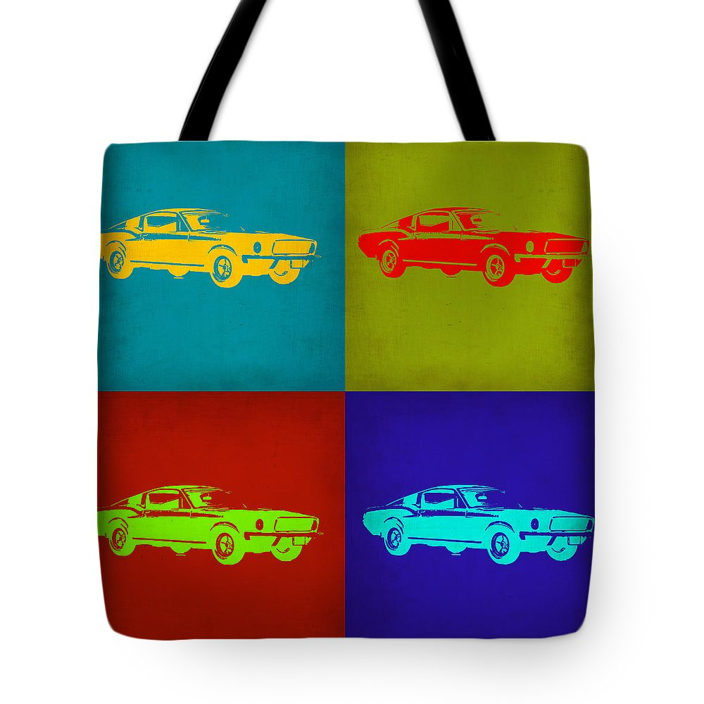 Ford Mustang Tote Bag featuring the painting Ford Mustang Pop Art 1 by Naxart Studio