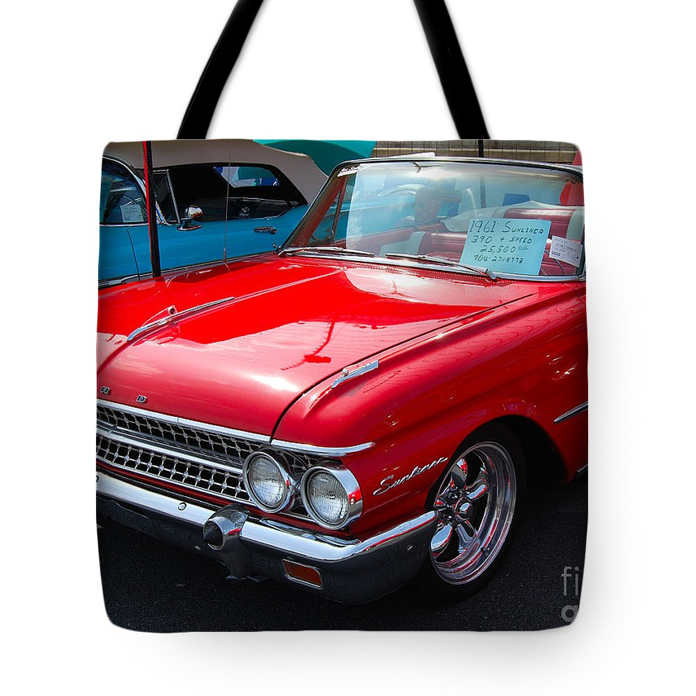 American Muscle Car Tote Bag featuring the photograph Ford Sunliner by Mark Spearman