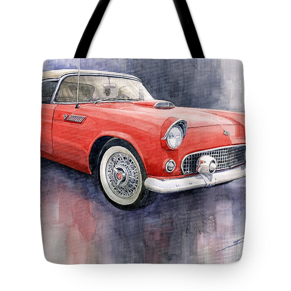 Watercolor Tote Bag featuring the painting Ford Thunderbird 1955 Red by Yuriy Shevchuk