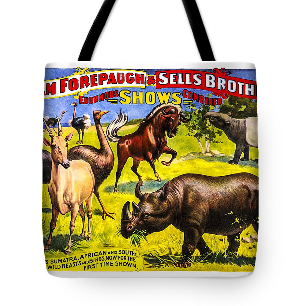 Forepaugh Sells Brothers Tote Bag featuring the photograph Forepaugh And Sells Wondrous Wild Beasts by Diana Powell