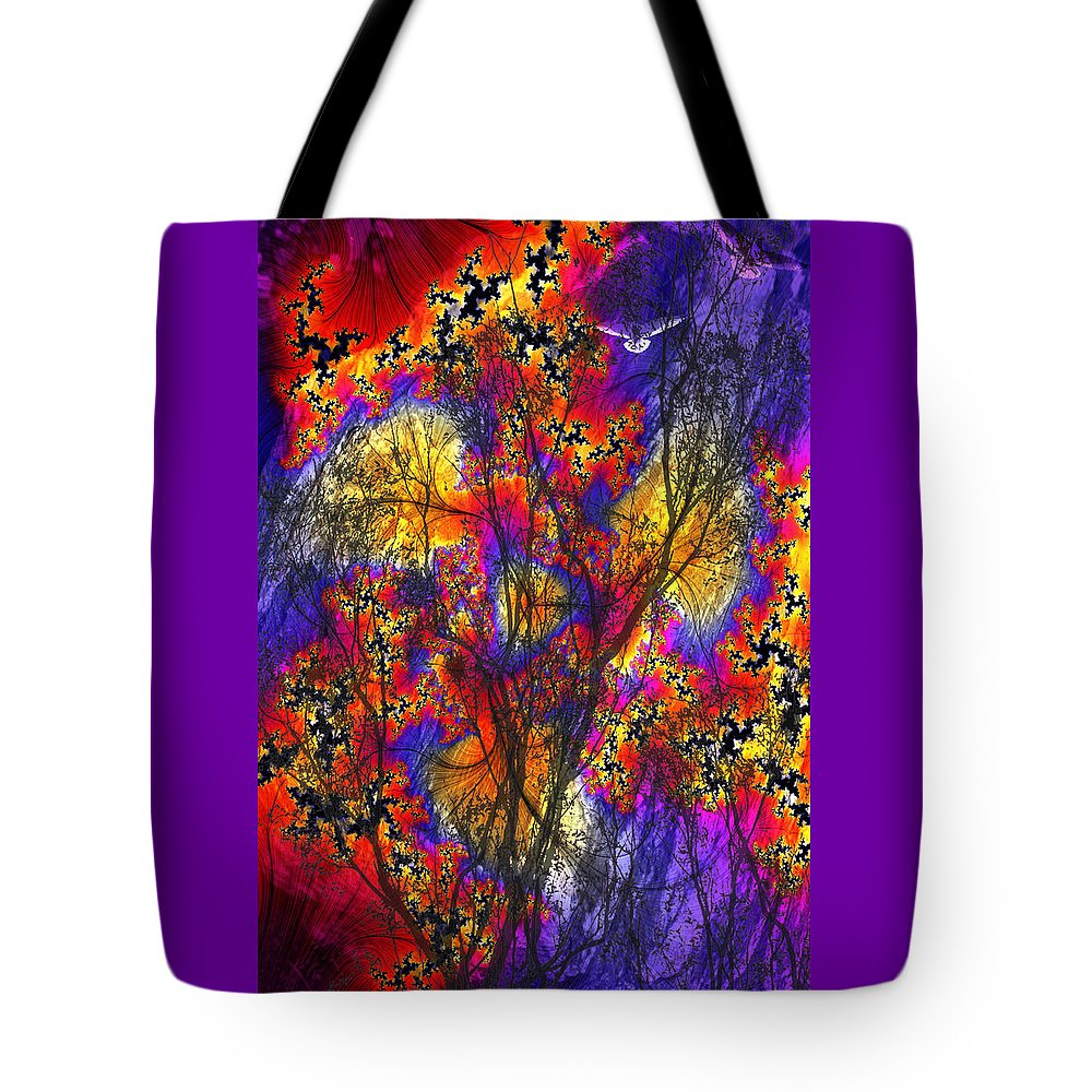 Forest Fire Tote Bag featuring the digital art Forest Fire by Lisa Yount