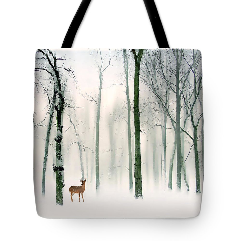 Winter Tote Bag featuring the photograph Forest Friend by Jessica Jenney