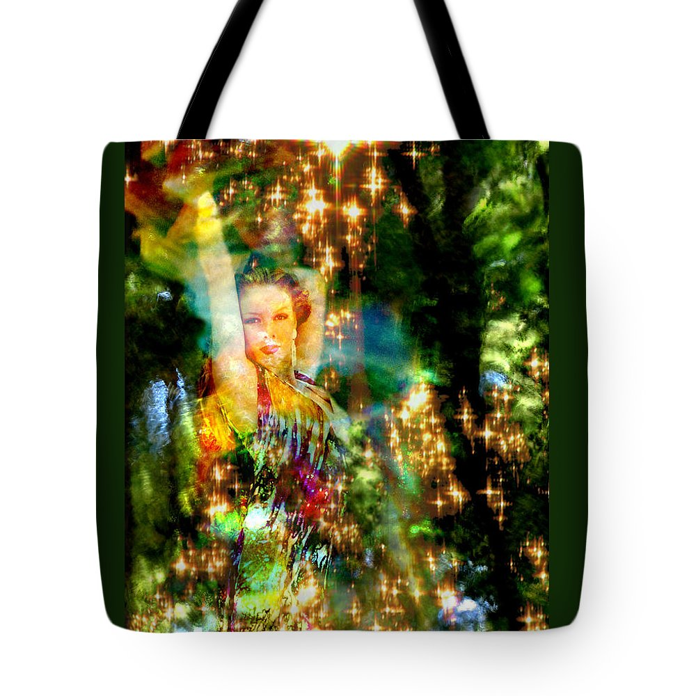 Forest Tote Bag featuring the digital art Forest Goddess 4 by Lisa Yount