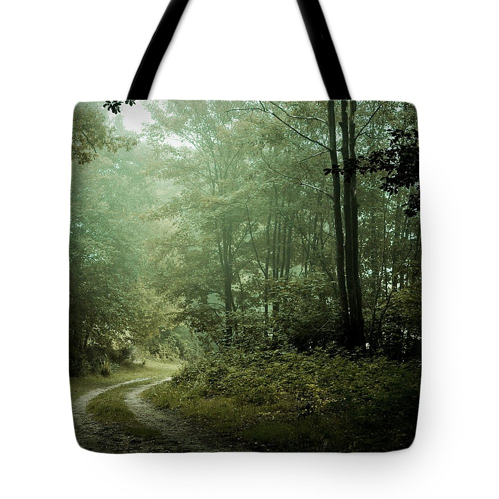 Landscapes Tote Bag featuring the photograph Forest In The Mist by Olivier De Rycke