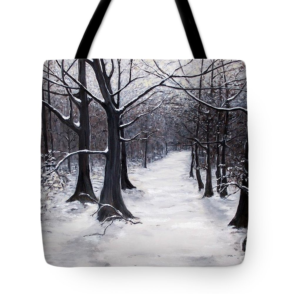 Winter Tote Bag featuring the painting Forest Path In Winter by Judy Kirouac