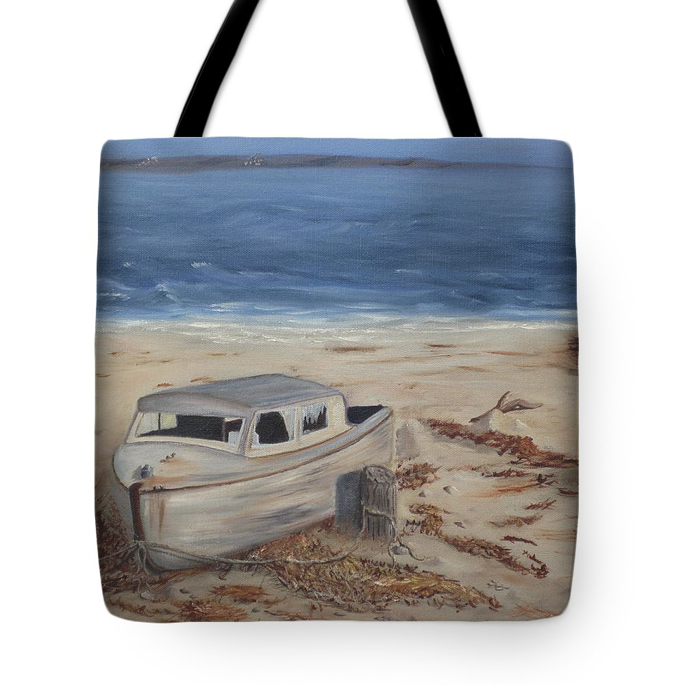 Boat Tote Bag featuring the painting Forgotten by Barbara McDevitt