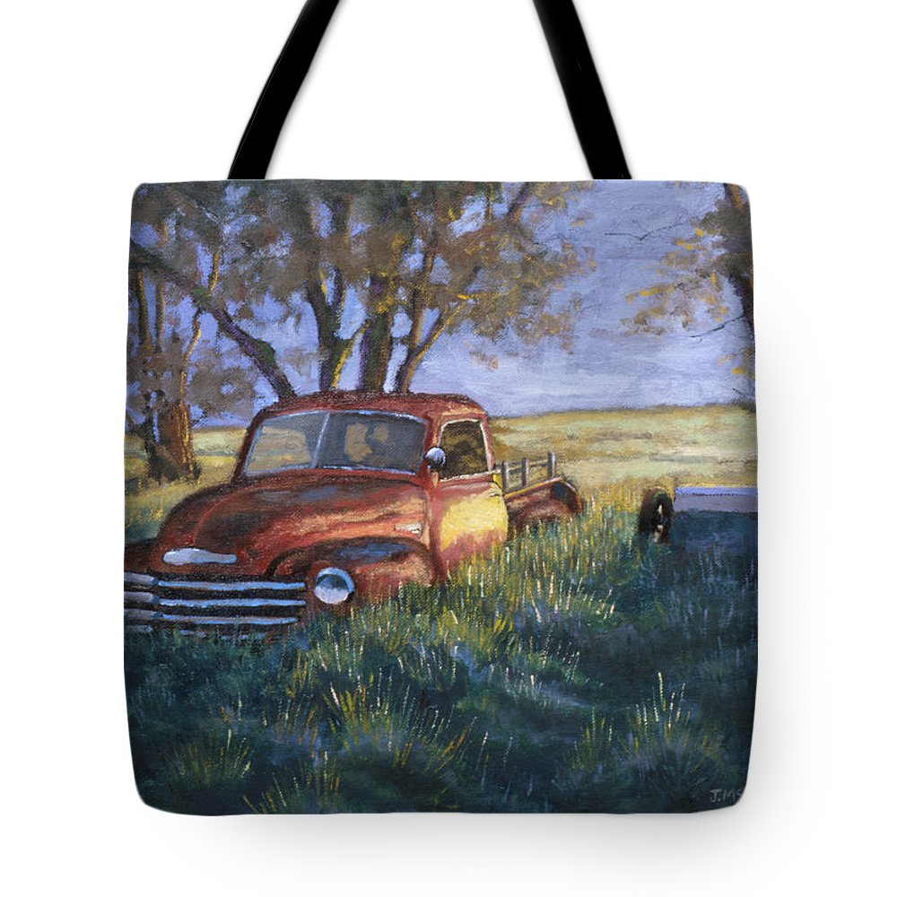 Pickup Truck Tote Bag featuring the painting Forgotten But Still Good by Jerry McElroy