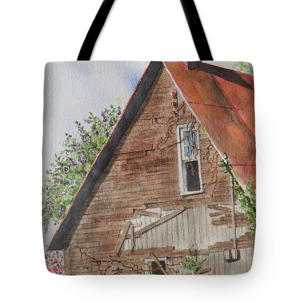 Farm Tote Bag featuring the painting Forgotten Dreams Of Old by Mary Ellen Mueller Legault