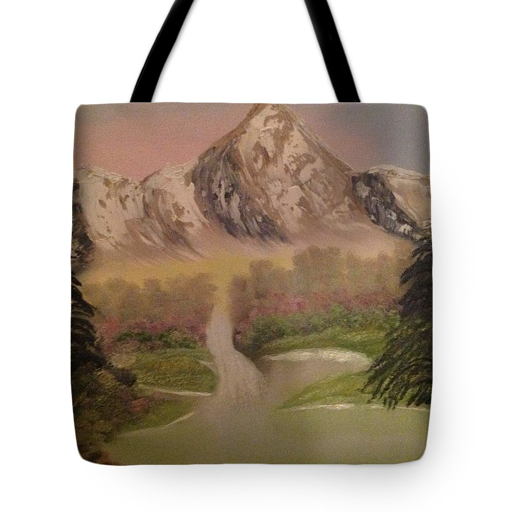 Mountains Tote Bag featuring the painting Forgotten Falls by Bonnie Boerger