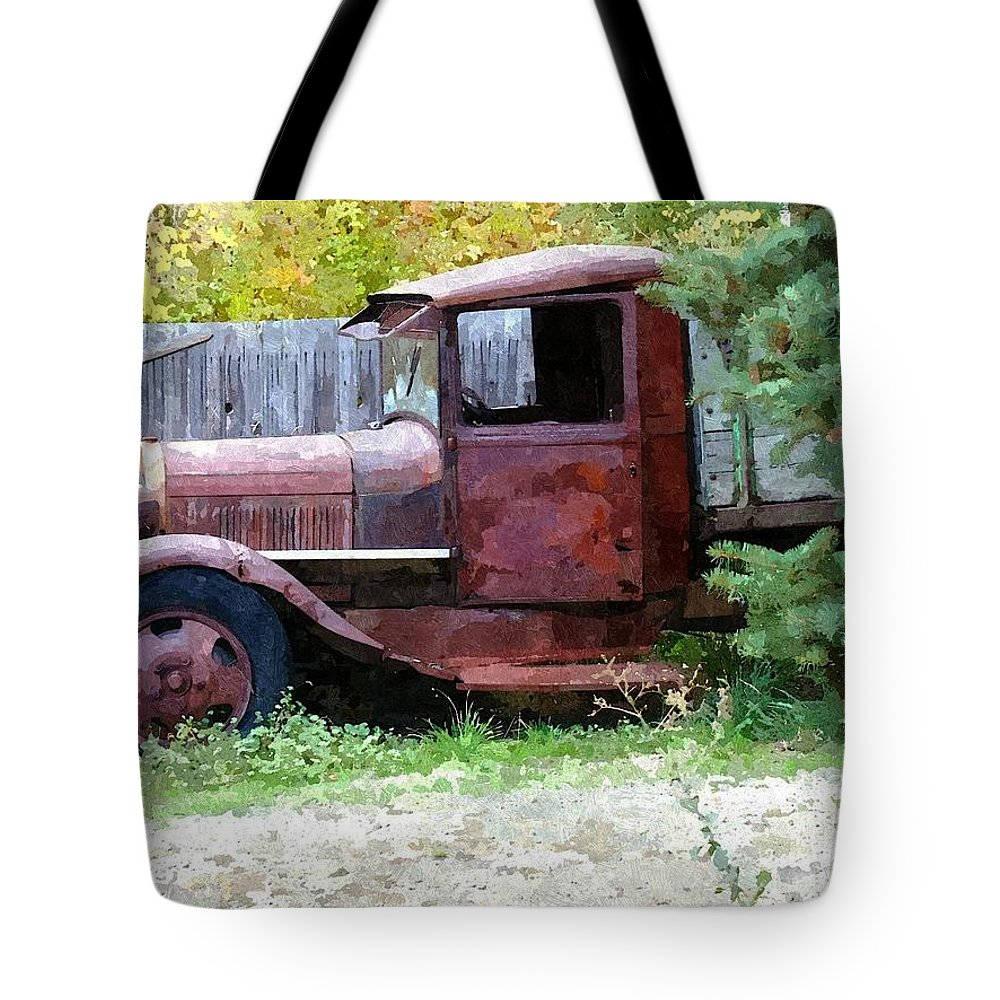 Truck Tote Bag featuring the photograph Forgotten by Linda Koelbel