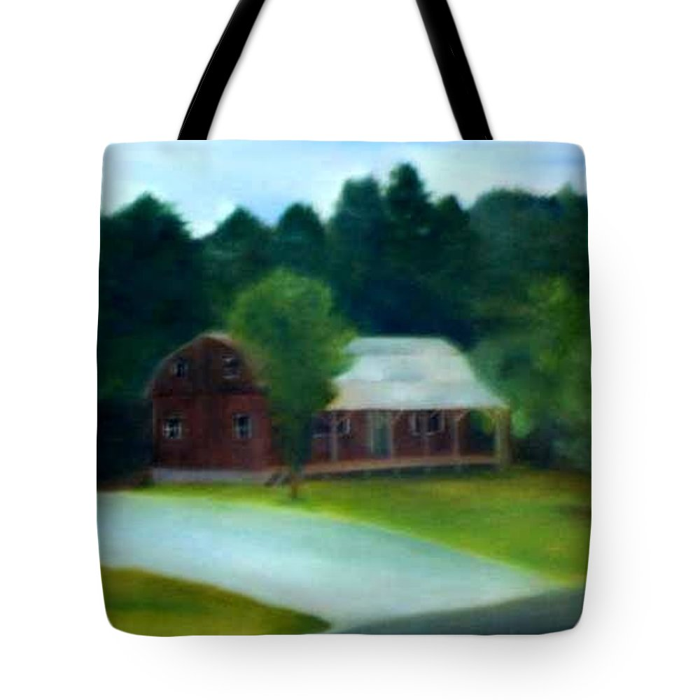 Upstate Tote Bag featuring the painting Forrest's House by Sheila Mashaw