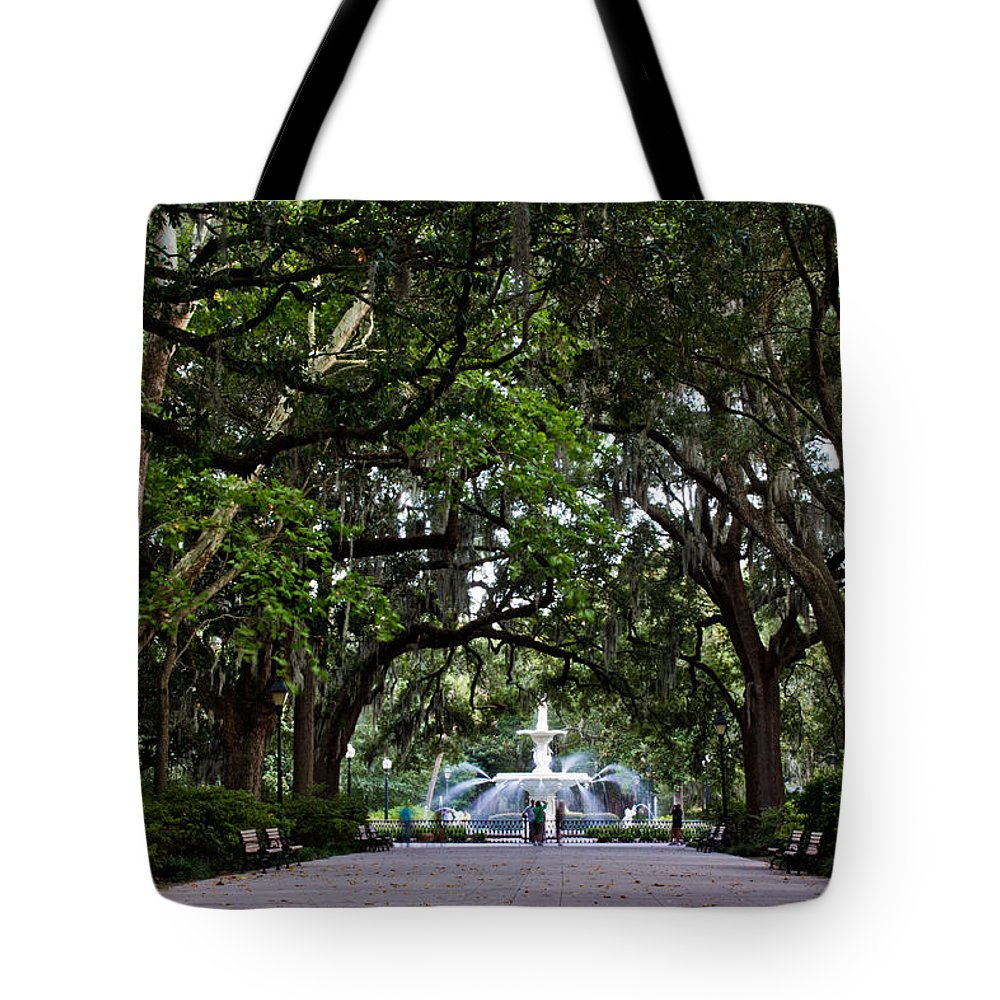 Savannah Tote Bag featuring the photograph Forsyth Park Fountain Savannah Georgia by John McGraw
