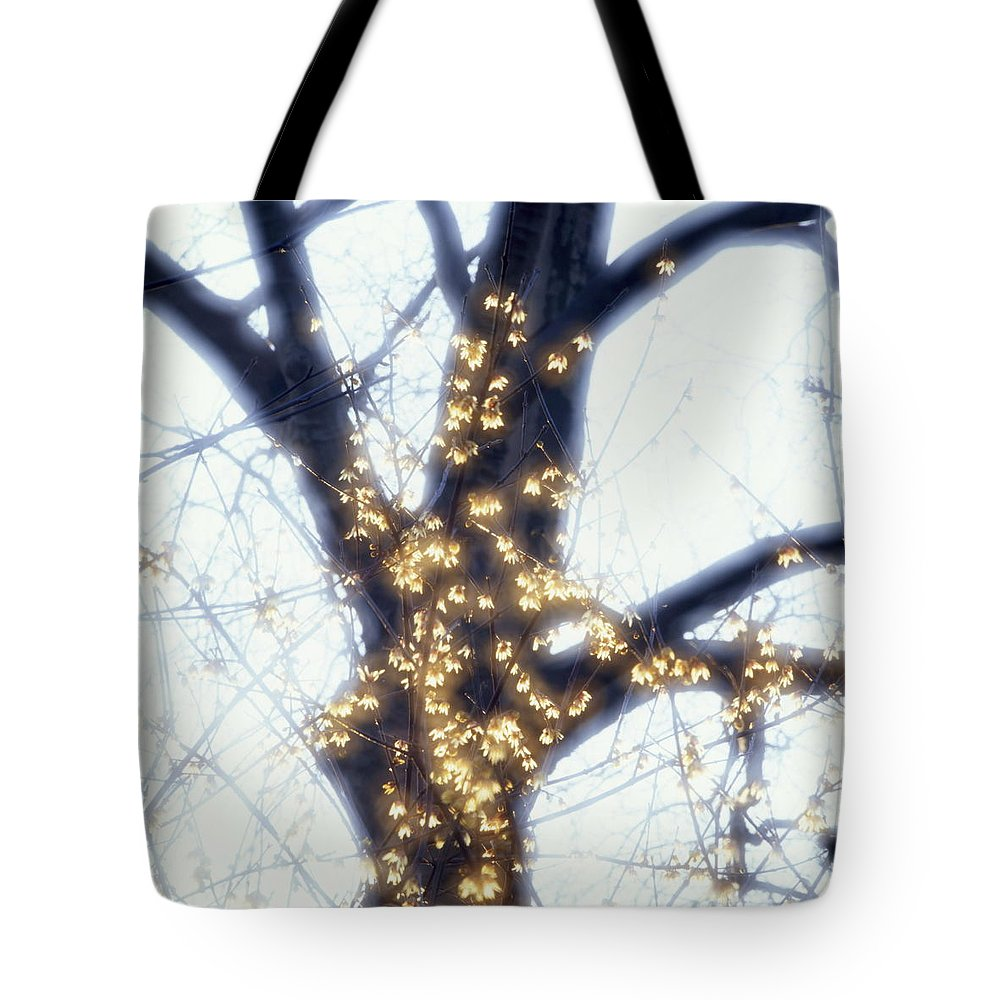 Abstract Tote Bag featuring the photograph Forsythia And Tree Trunk by Ulrich Kunst And Bettina Scheidulin