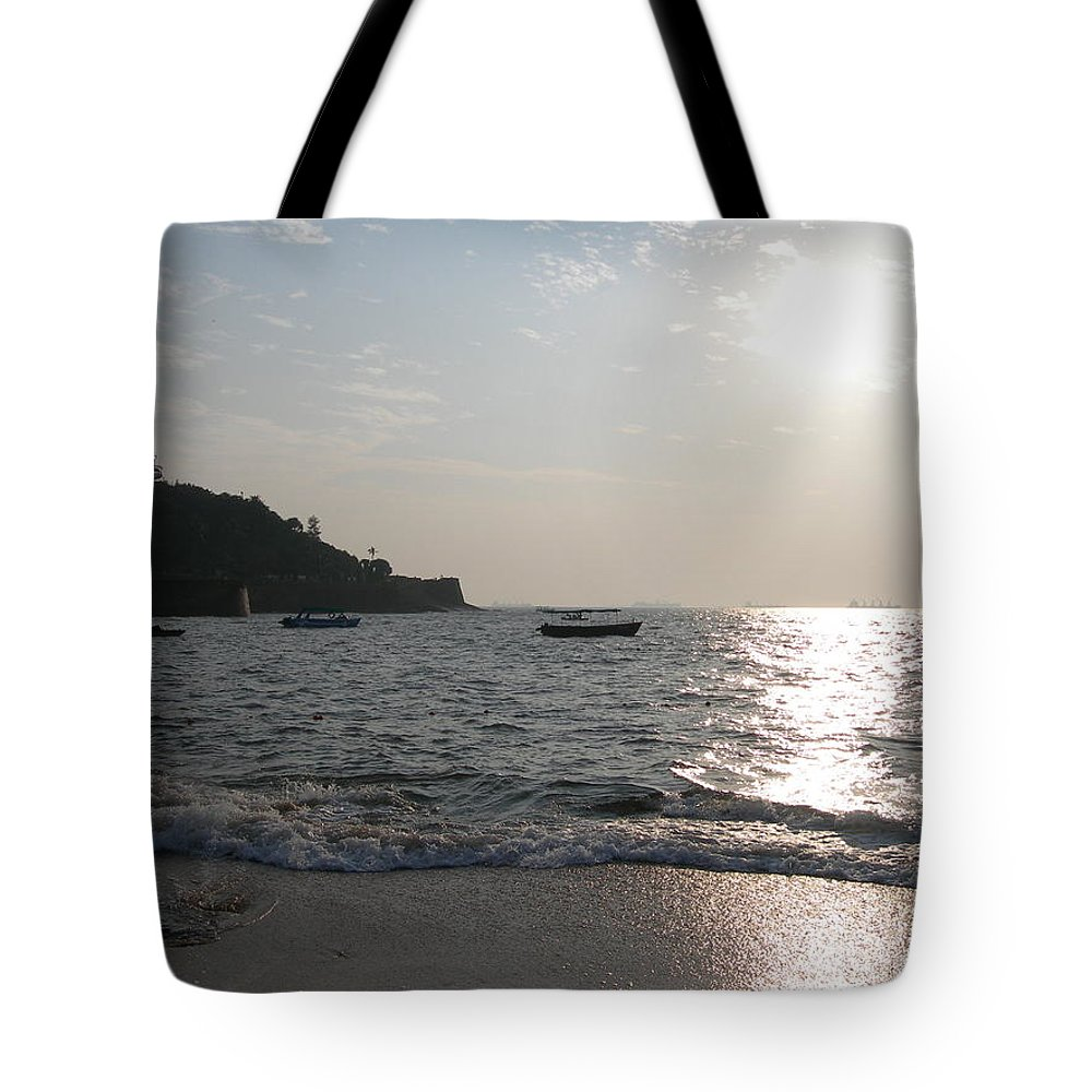 Goa Tote Bag featuring the photograph Fort Aguada Beach by Mini Arora
