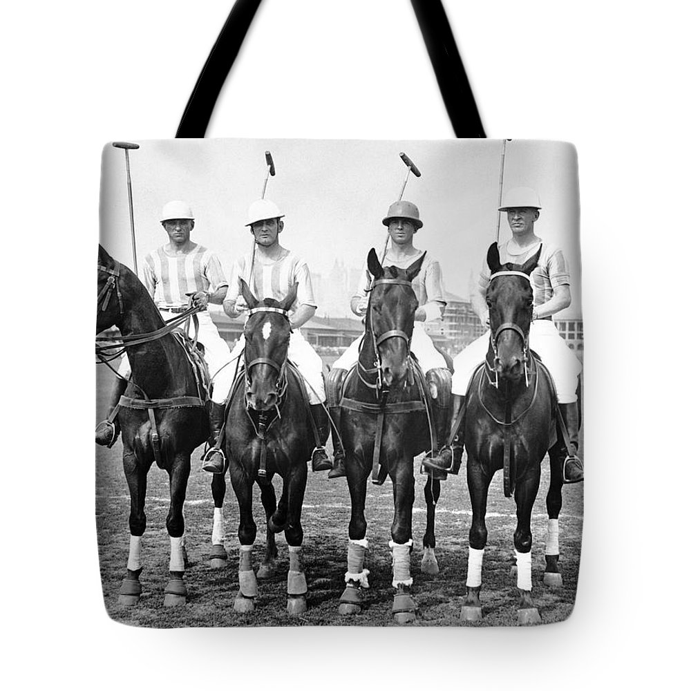 1920s Tote Bag featuring the photograph Fort Hamilton Polo Team by Underwood Archives