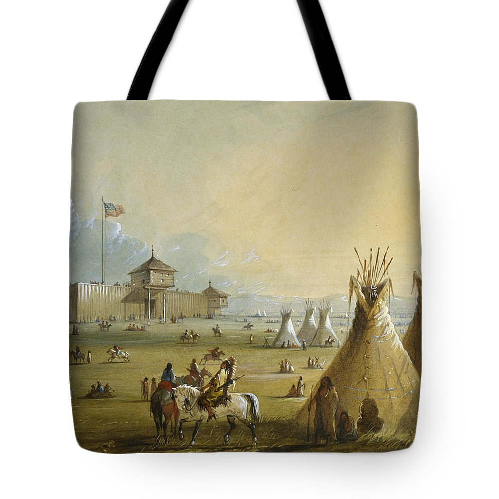 Alfred Jacob Miller Tote Bag featuring the painting Fort Laramie by Celestial Images