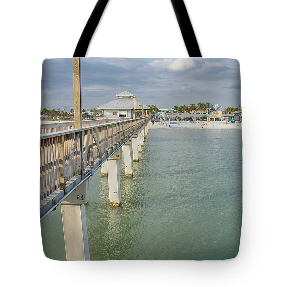 Pier Tote Bag featuring the photograph Fort Myers Beach by Kim Hojnacki