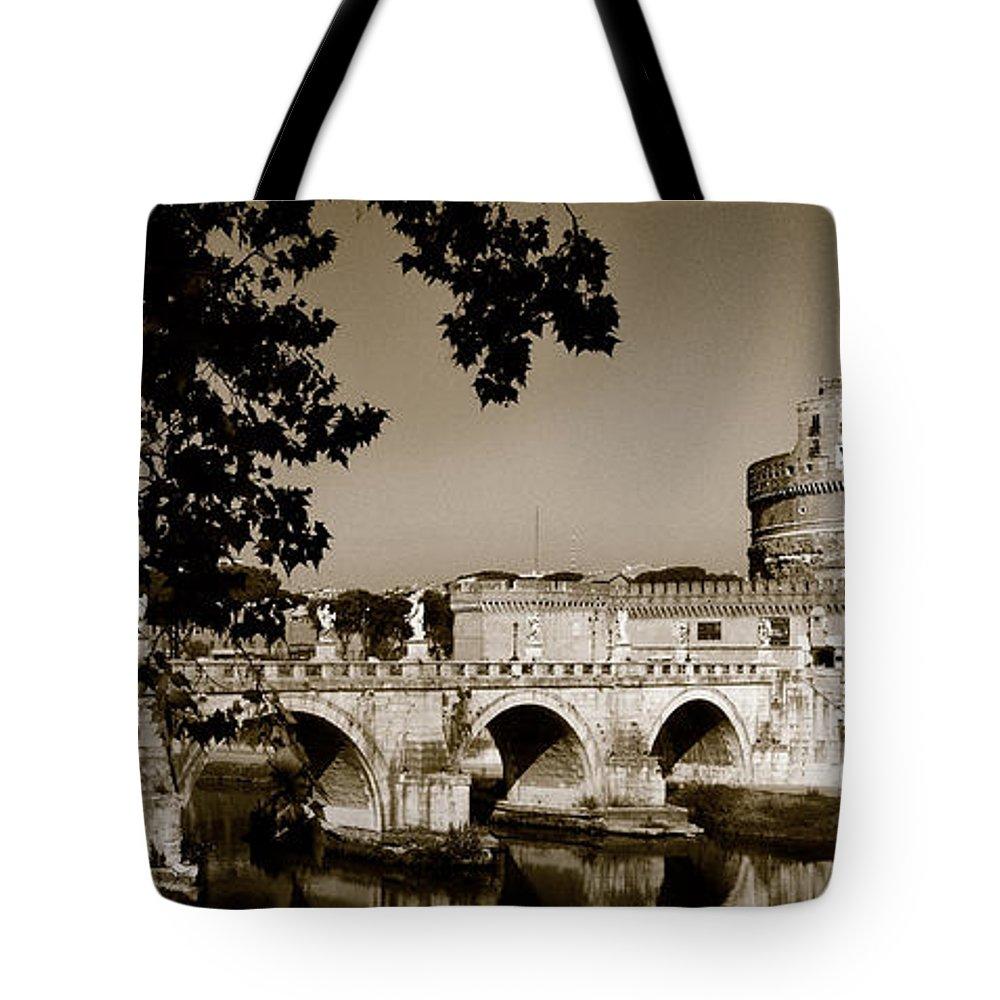 Fortress Tote Bag featuring the photograph Fortress And Bridge In Sepia by Weston Westmoreland