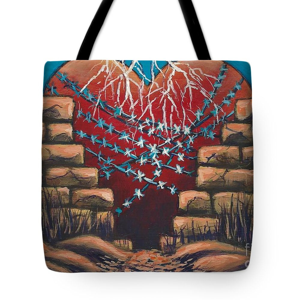 #heart #sting #music #fortressaroundyourheart Tote Bag featuring the painting Fortress Around Your Heart by Allison Constantino
