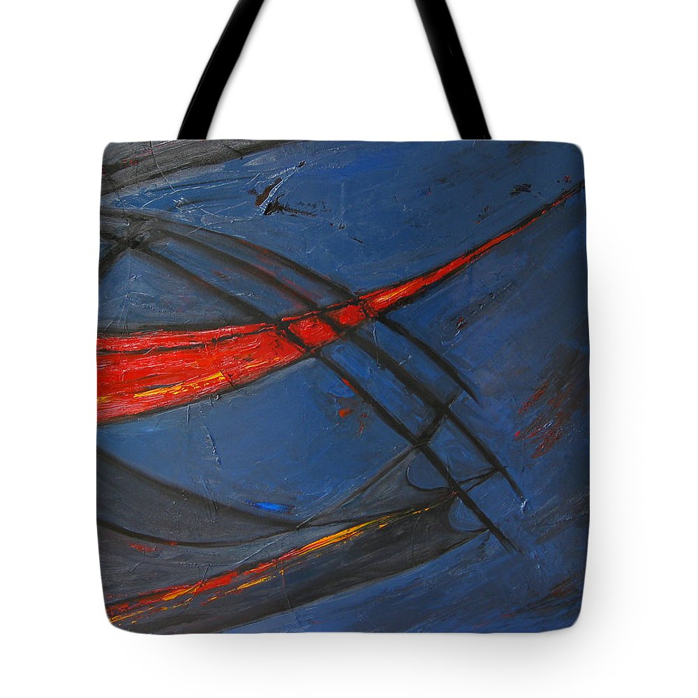Red Tote Bag featuring the painting Forward by Patricia Awapara