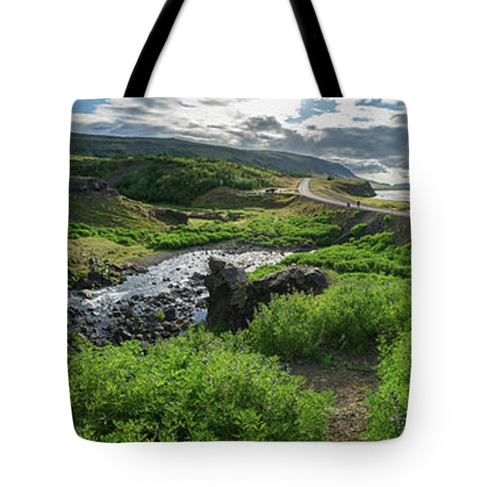 Photography Tote Bag featuring the photograph Fossa Waterfall In Hvalfjordur, Iceland by Panoramic Images