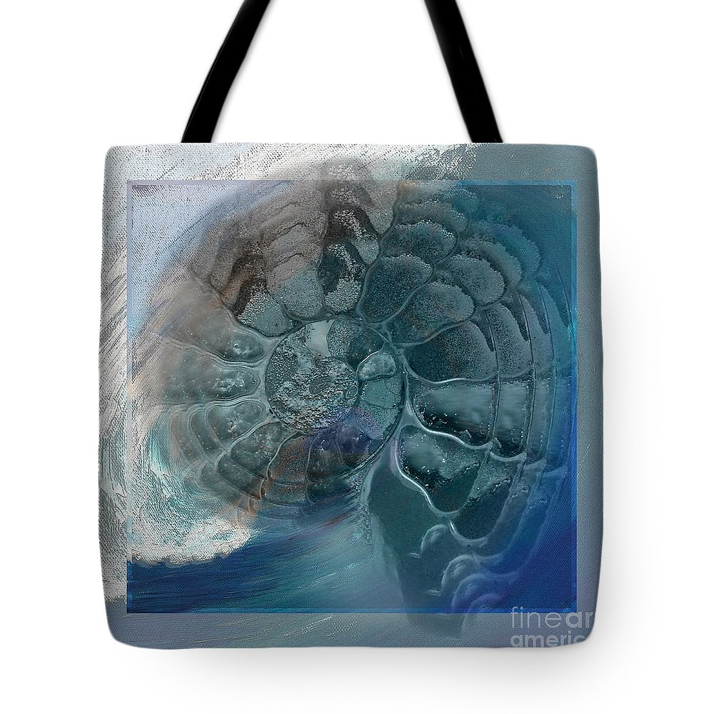 Fossil Tote Bag featuring the painting Fossil Ocean by Shelley Myers