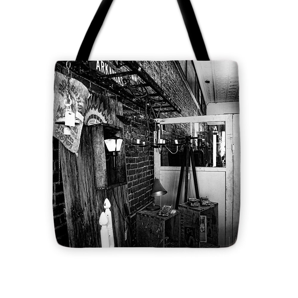 Black And White Fine Art Photograph Tote Bag featuring the photograph Found Objects Store by Toni Hopper
